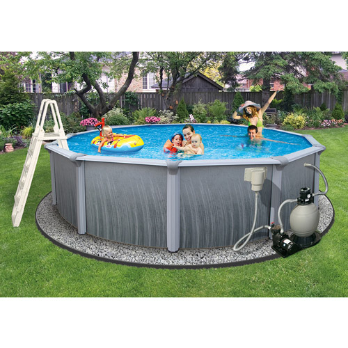 "Blue Wave Round 24' x 52"" Deep Martinique 7"" Top Rail Metal-Walled Swimming Pool"