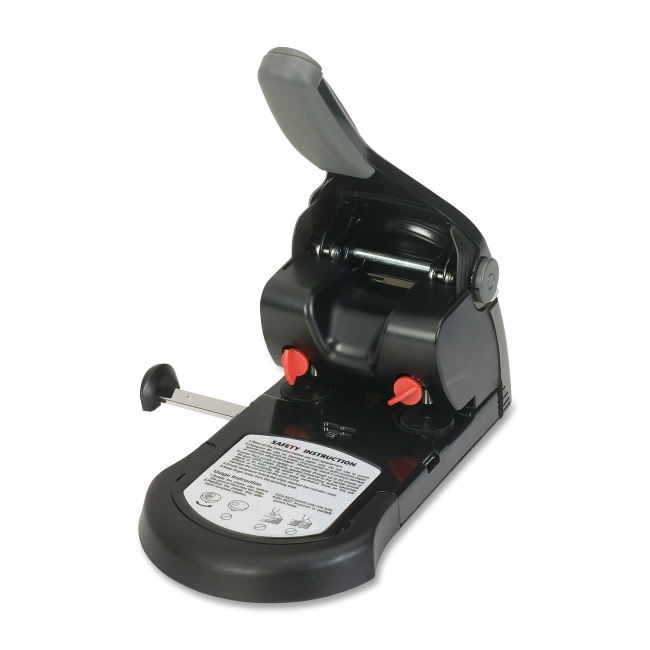 """Business Source Effortless Manual Hole Punch - 2 Punch Head(s) - 65 Sheet Capacity - 1/4"""" Punch Size - Round Shape - Bla"""