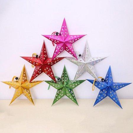 Christmas Tree Star Charm - Romantic Xmas String Hanging Charm Star Party Decoration Christmas Tree Ornament