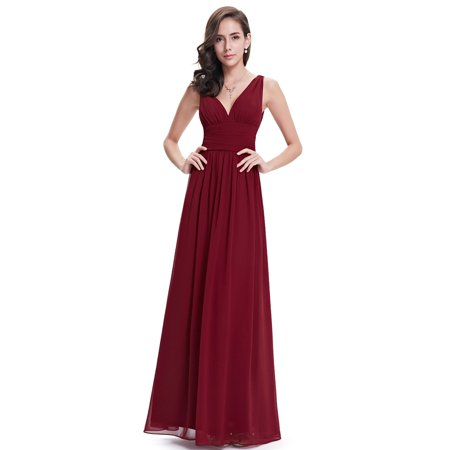 Dressy Evening Suit - Ever-Pretty Womens Elegant Chiffon Long Maxi Evening Cocktail Bridesmaid Wedding Party Dresses for Women 90163 Burguudy US4