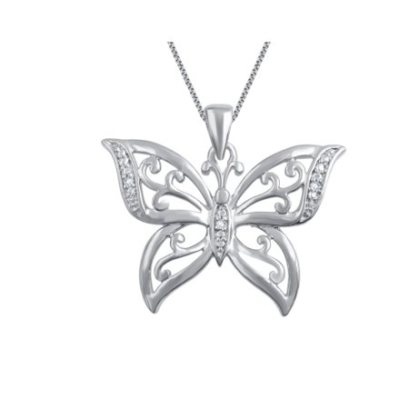Genuine 0.02 Ctw Natural Diamond Accent Butterfly Shaped Necklace In 14K White Gold Plated