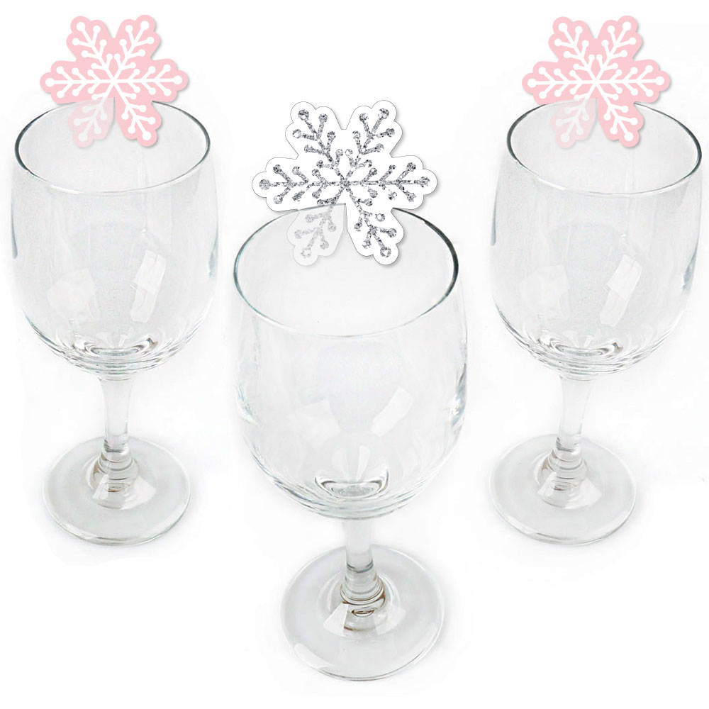 Pink Winter Wonderland - Shaped Holiday Snowflake Birthday Party or Baby Shower Wine Glass Markers - Set of 24