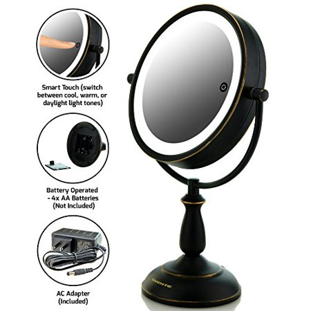 Natural Warm White LED Mirror w/ 1x/10x Magnification - Oil Rubbed Bronze 7.5