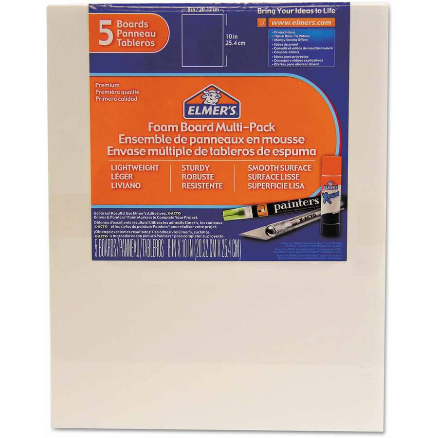 "Elmer's Pre-Cut White Foam Board Sheets, 8"" x 10"", 5-Pack"