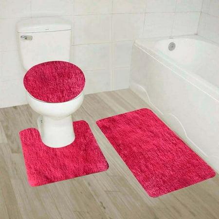 #9  Hot Pink 3-Piece Solid Plain Shaggy Bathroom Rug Set, Large Bath Mat 20