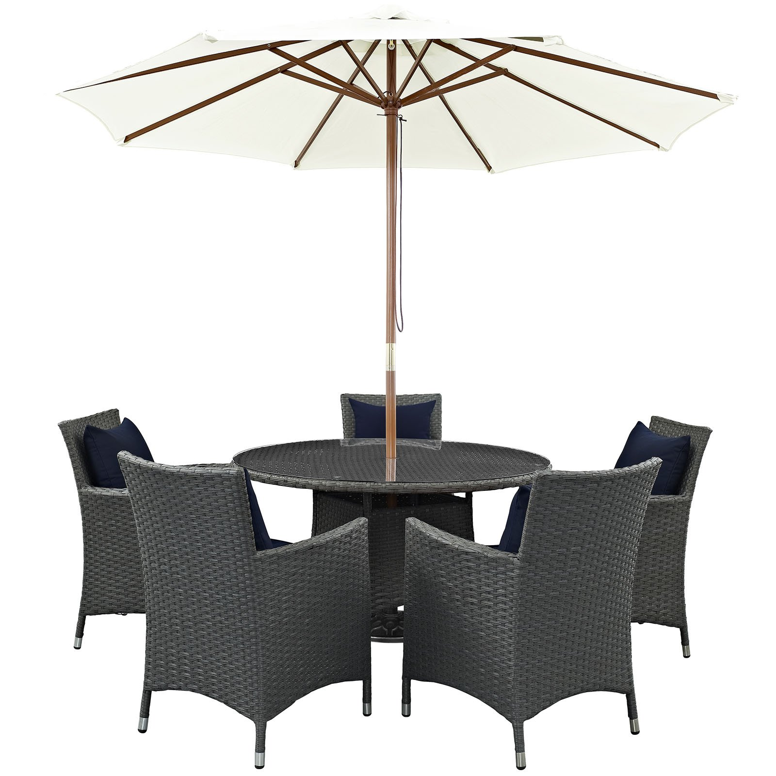 Modway Sojourn 7 Piece Outdoor Patio Sunbrella Dining Set, Multiple Colors