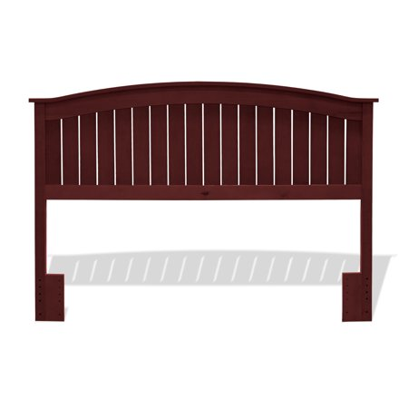 Finley Wood Headboard Panel with Curved Top Rail and Slatted Grill Design, Merlot Finish, Full / -