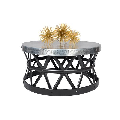 Fashion N You By Horizon Interseas Drum Hammered Coffee Table