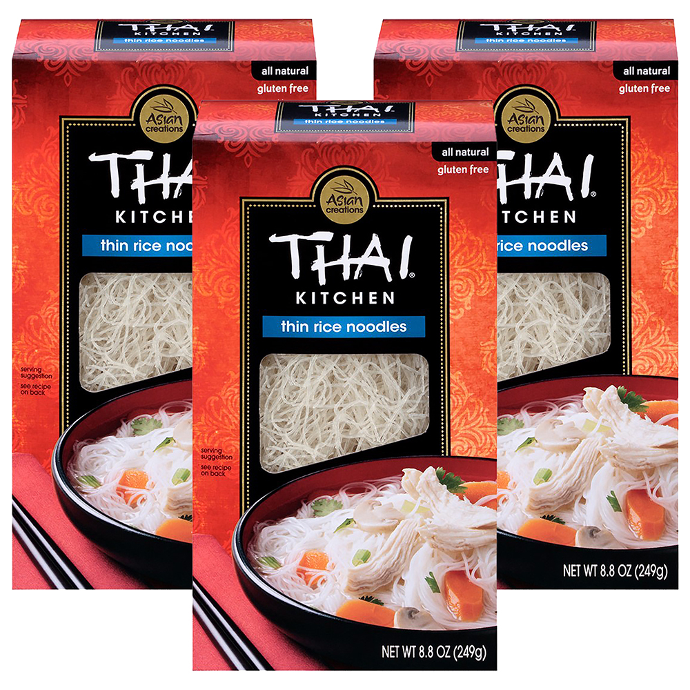 Thai Kitchen Gluten Free Thin Rice Noodles, 8.8 oz (3 Packs)