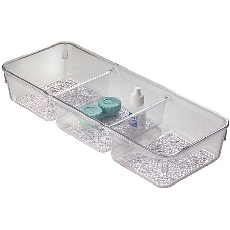 InterDesign Rain Cosmetic Organizer Tray for Vanity Cabinet to Hold Makeup, Beauty Products, 3 Compartments, Clear