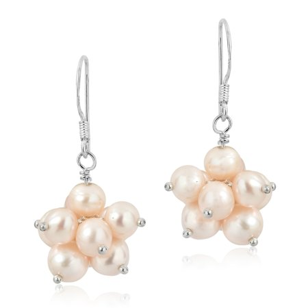 Pink Pearl Cluster (Beautiful Round Cluster of Pink Pearls Dangle Earrings )