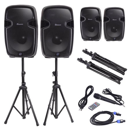 Costway Dual 12'' 2-way 2000W Powered Speakers w/ Bluetooth + Mic + Speaker Stands + Control +