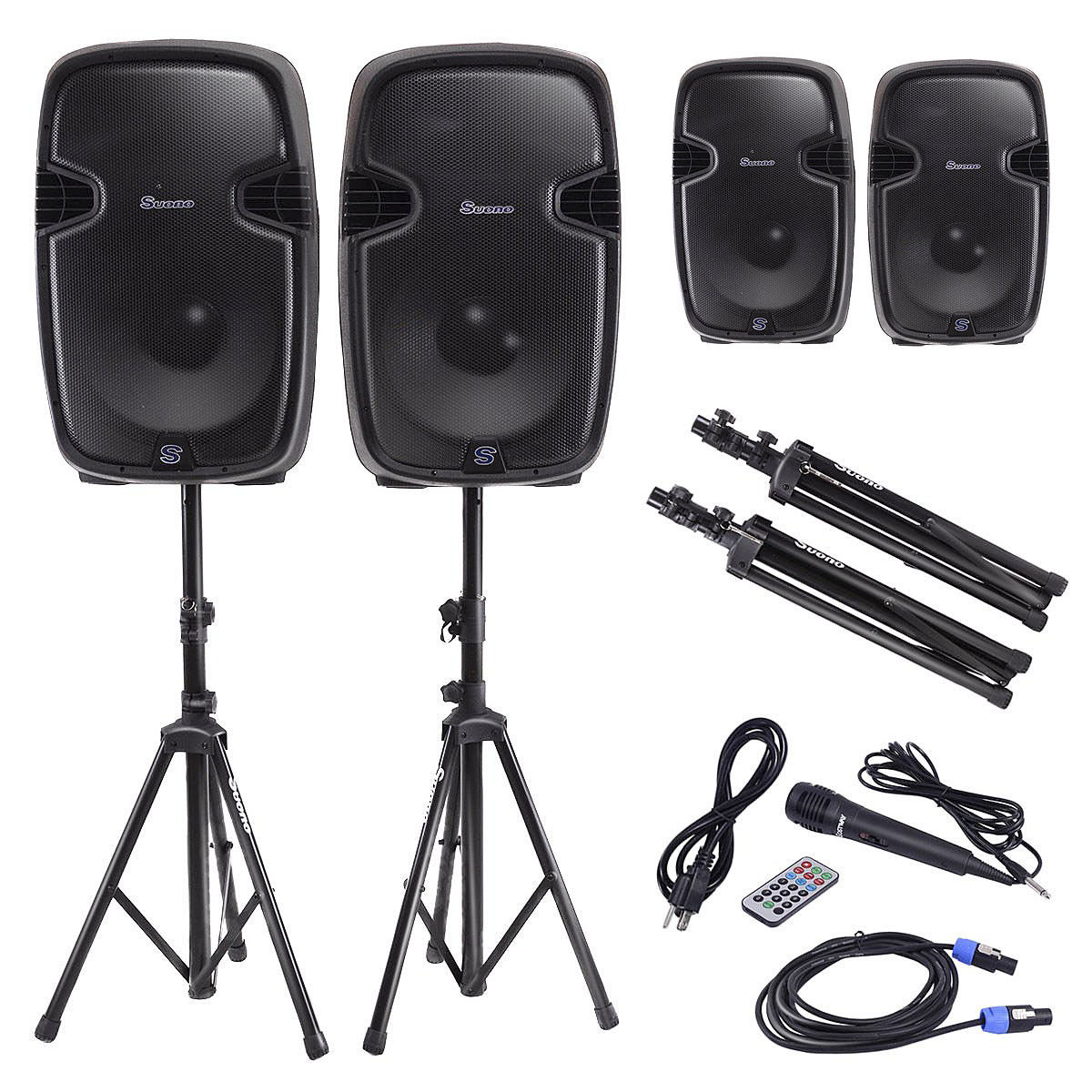 Costway Dual 12'' 2-way 2000W Powered Speakers w/ Bluetooth + Mic + Speaker Stands + Control + Cables