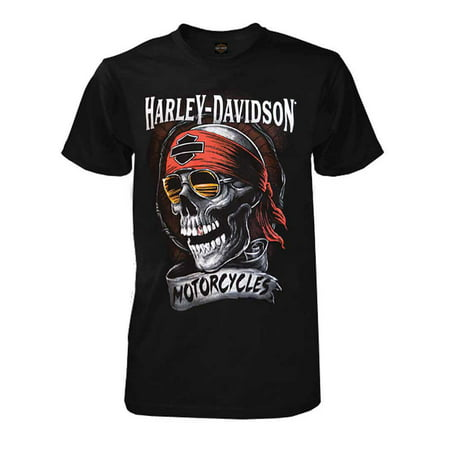 Harley-Davidson Men's Distressed Shady Skull Short Sleeve T-Shirt, Solid Black, Harley Davidson (Black Diamond Harley Davidson Halloween)