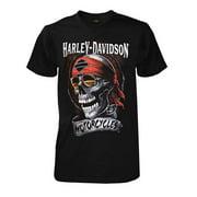 Harley-Davidson Men's Distressed Shady Skull Short Sleeve T-Shirt, Solid Black, Harley Davidson