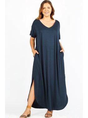 01380efd8d Product Image JED FASHION Women s Plus Size Comfy Fit V-Neck Maxi Casual  Dress