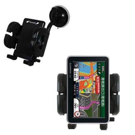 Gomadic Brand Flexible Car Auto Windshield Holder Mount Designed For The Garmin Nuvi 2555 2595 Lmt   Gooseneck Suction Cup Style Cradle