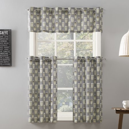 Mainstays Cup of Joe Print Grommet 3-Piece Kitchen Curtain Tier and Valance Set