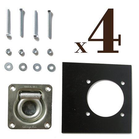 FOUR Recessed D-Ring Pan Fittings | Small Square Tie-Down D Ring Trailer Cargo Tiedown Anchors + Mounting Lock Plates + Installation Tie Down Hardware Parts, Carriage Bolts, Keps Nuts, Flat Washers