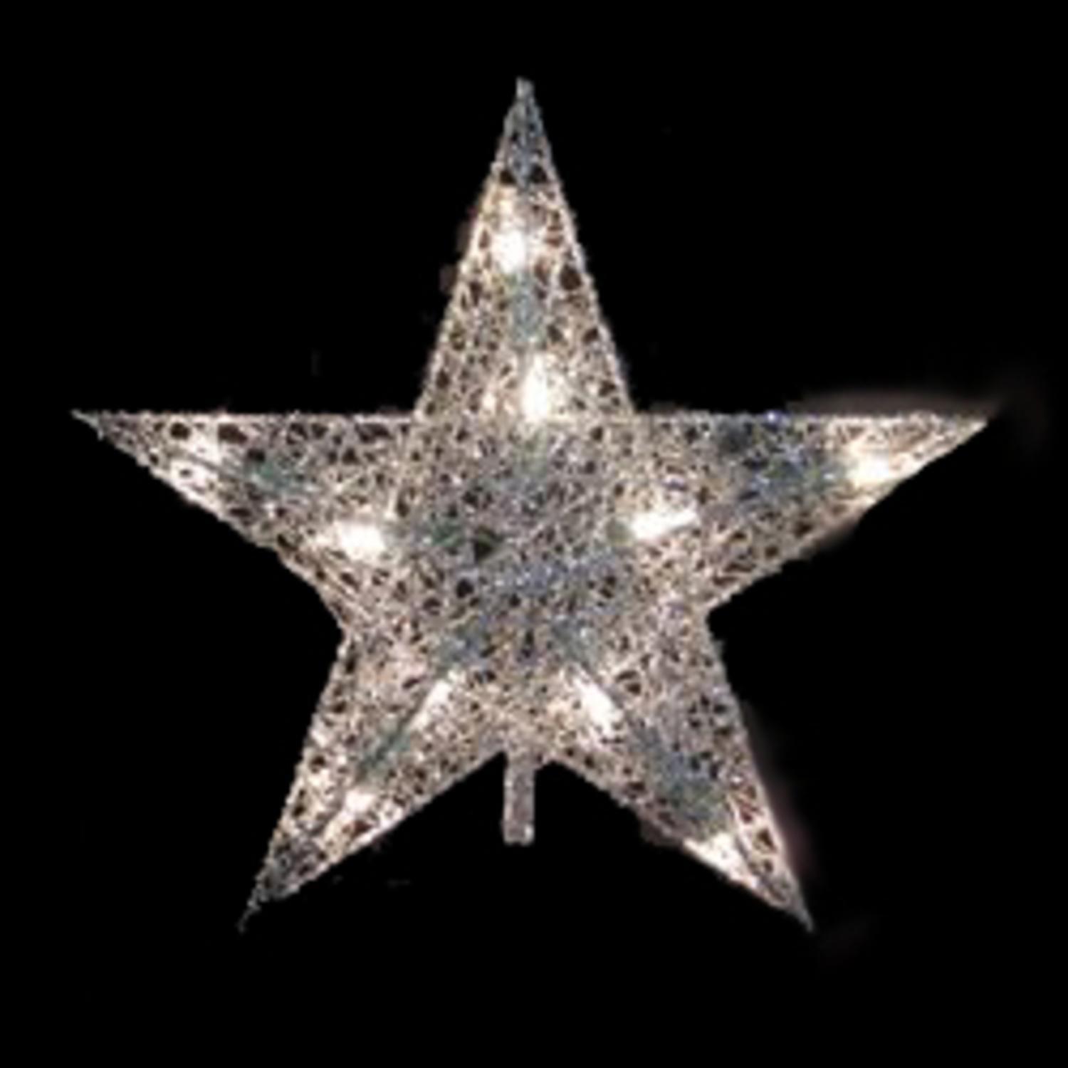 """10.5"""" Lighted Silver Glittered Wire Star Christmas Tree Topper - Clear Lights"""