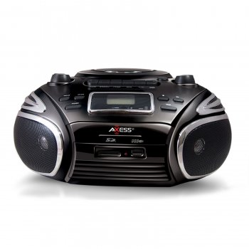 Axess Portable AM FM Radio, CD MP3 Player, USB SD & Cassette Recorder Boombox by