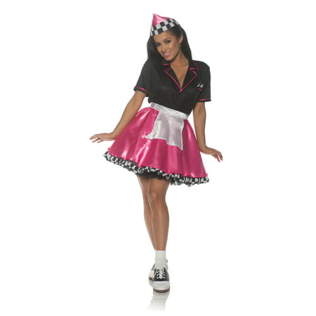 Pink Car Hop Womens Adult 50S Diner Waitress Sock Hop (50's Car Hop Waitress Costume)