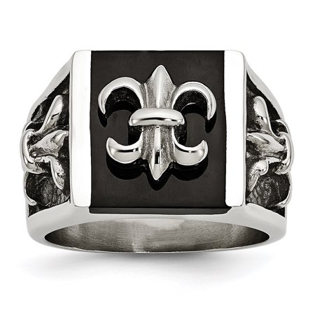 Stainless Steel Black Plated Fleur De Lis Band Ring Size 9.00 Man Gift For Dad Mens For - Fleur De Lis Designer Ring