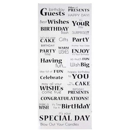 Birthday Sentiments Clear Photo Safe Stickers 30 Count
