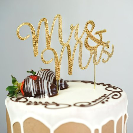 "BalsaCircle 3.5"" tall Gold Mr & Mrs Rhinestone Cake Topper - Personalized Monogram Wedding Party Decorations"