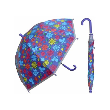 w107chfloral 32 in. childrens floral print plastic canopy umbrella, 3 piece - Childrens Boutiques