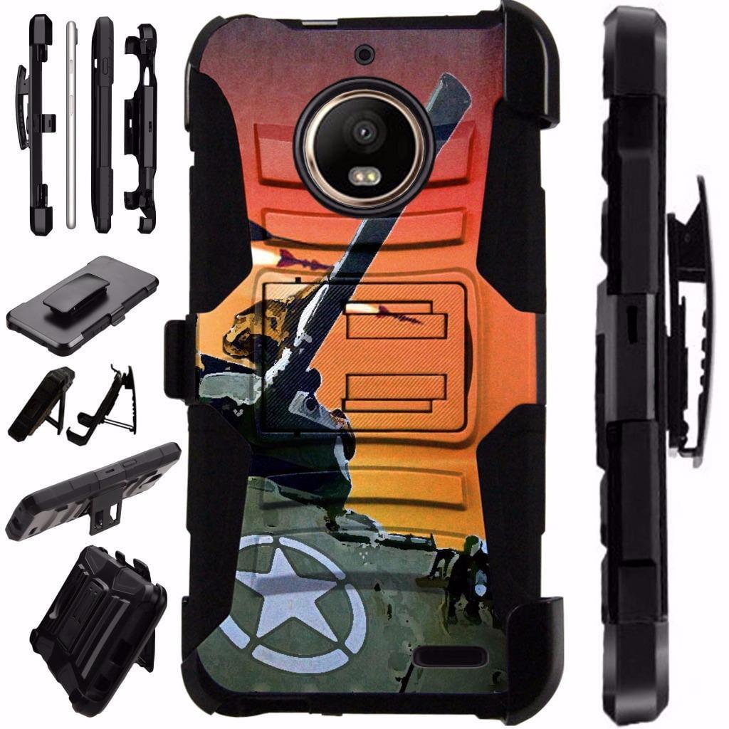 For Motorola Moto E4 Case / Moto E 4 Case Armor Hybrid Case Silicone Cover Kick Stand LuxGuard Holster (War Tank)