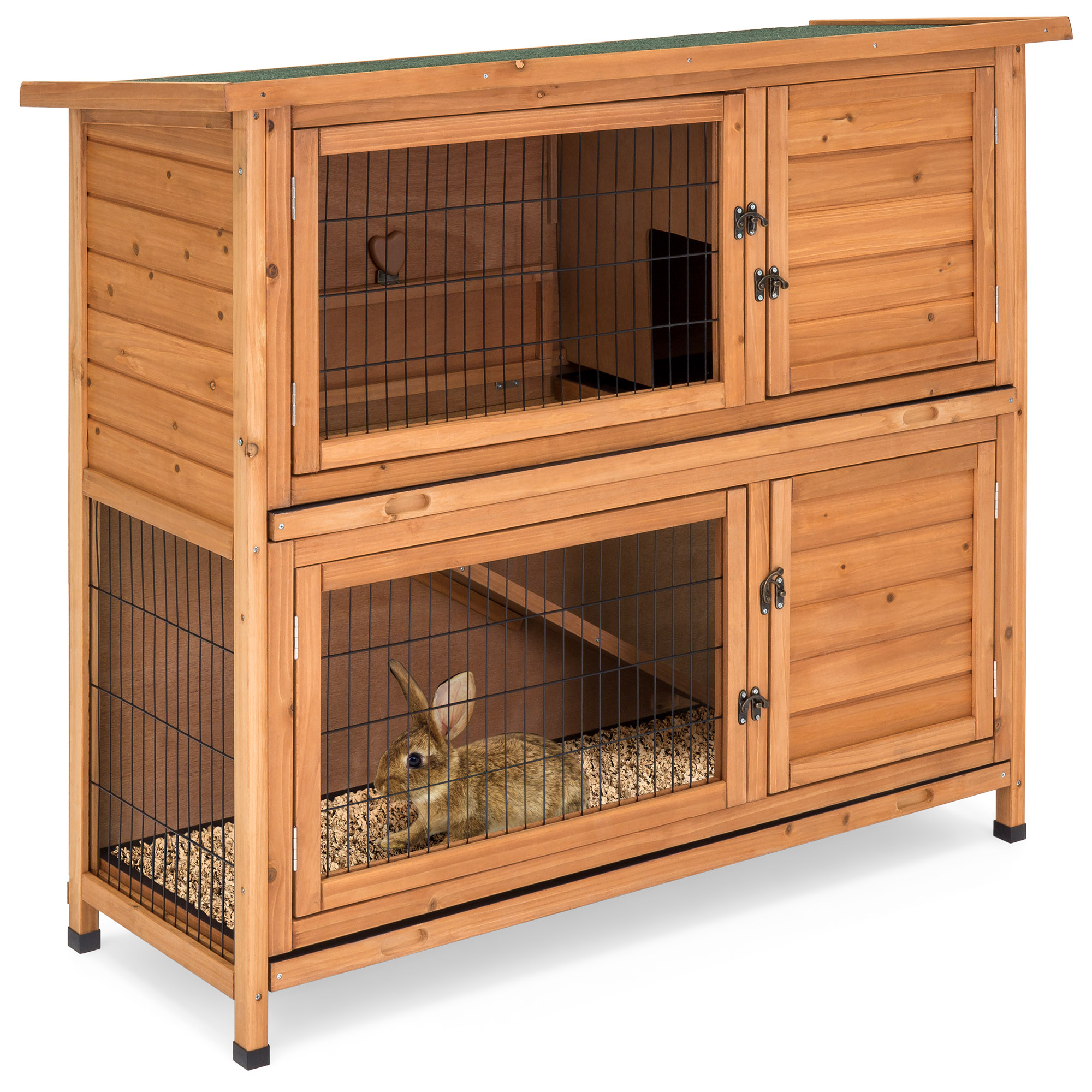 Best Choice Products 48x41in 2-Story Outdoor Wooden Pet Rabbit Hutch Animal Cage by Best Choice Products