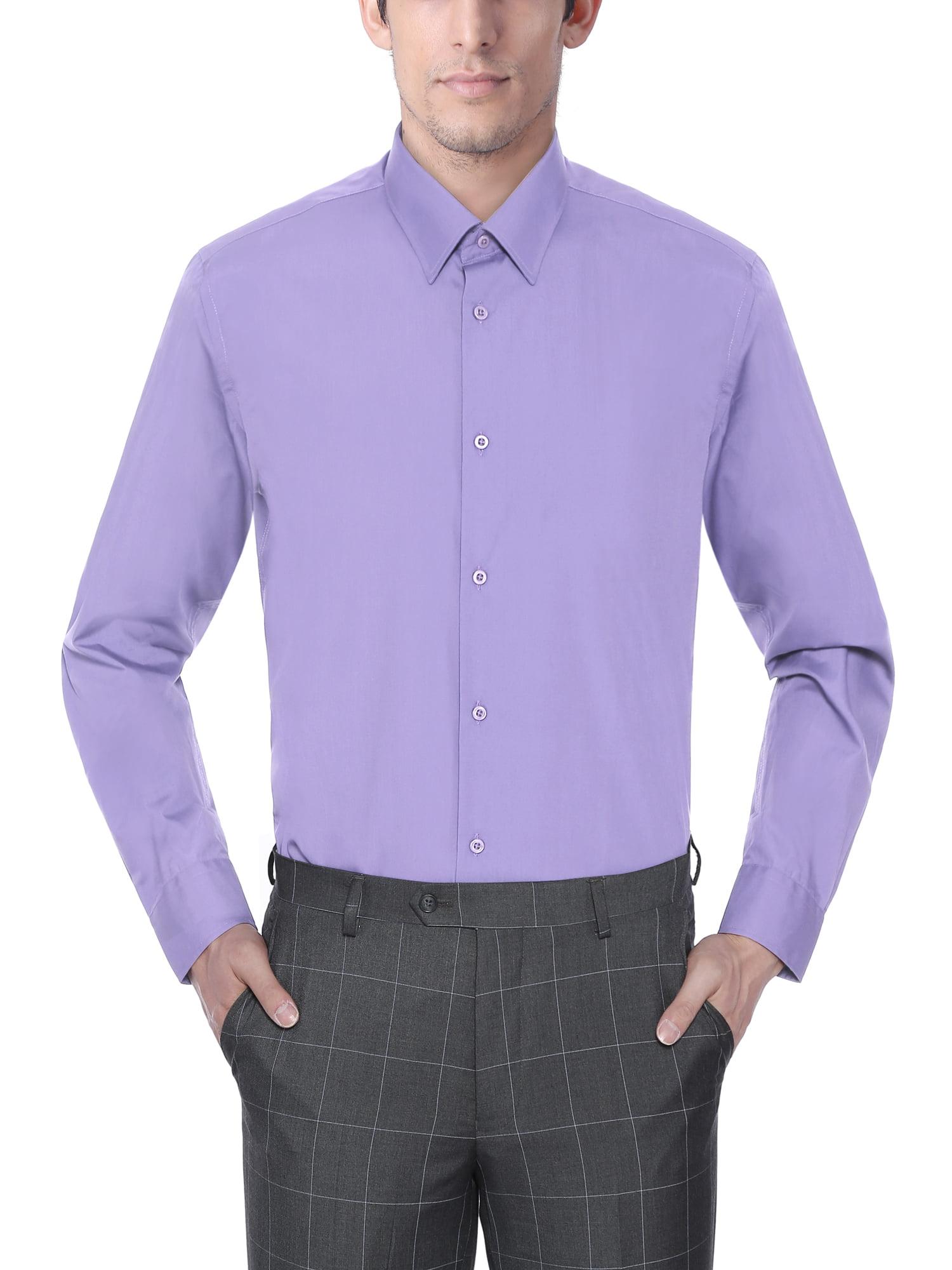 Verno Mens Long Sleeve Slim Fit Lavender Color Dress Shirts