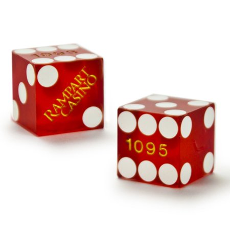 """Pair (2) of Official 19mm Casino Dice Used at the Rampart Casino by, Authentic casino dice used at the Rampart Casino. Gently worn and """"cancelled"""" with a.., By Brybelly"""