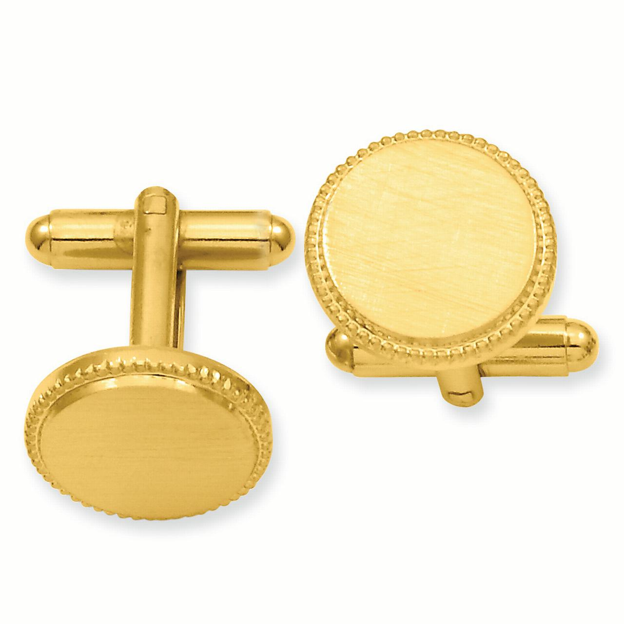 Gold Plated Kelly Waters Florentine Round Beaded Cuff Links Mens Cufflinks Man Link Water