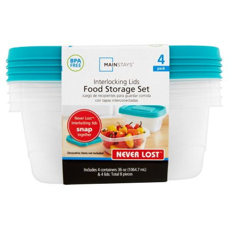 (4 Pack) Mainstays Never Lost 4-Piece Rectangle Plastic Food Storage Set, Blue Atoll