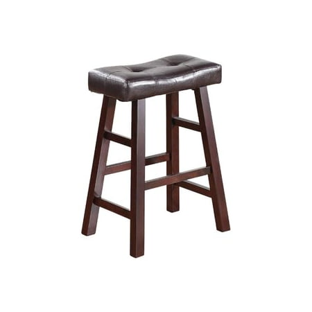 "Legacy Decor Pair of 24"" Dark Espresso Wood Barstools Wrapped in Espresso Bonded Faux Leather"