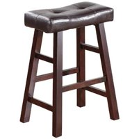 "Legacy Decor Pair of 24"" Dark Espresso Wood Bar Stools Wrapped in Espresso Bonded Faux Leather"