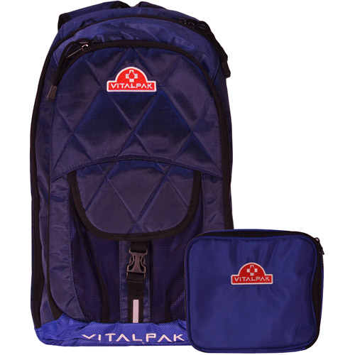 VitalPak Medical Backpack with Removable, Snap-In Essentials Kit, Navy/Blue
