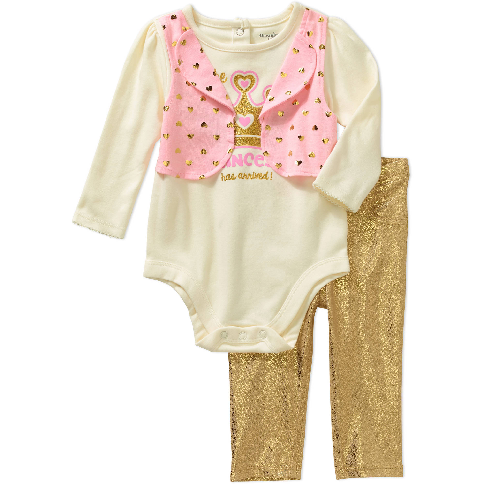 Garanimals Newborn Baby Girls' Twofer Faux Vest Bodysuit and Jeggings 2-Piece Outfit Set