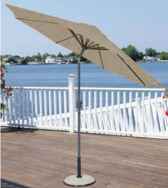 9' Outdoor Patio Market Umbrella with Hand Crank and Tilt - Sage/Brown and Black