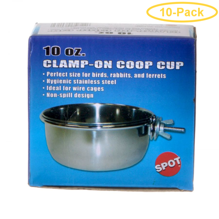 Spot Stainless Steel Coop Cup with Bolt Clamp 10 oz - Pack of 10