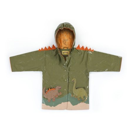 Little Boys Brown Dinosaur Orange Spike Hooded Rain Coat 2T-6X