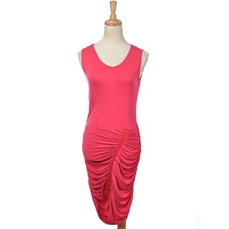 Ruched Zipper (S/M Fit Rose Red Sleeveless Ruched Party Dress w Uneven Zipper Detail )