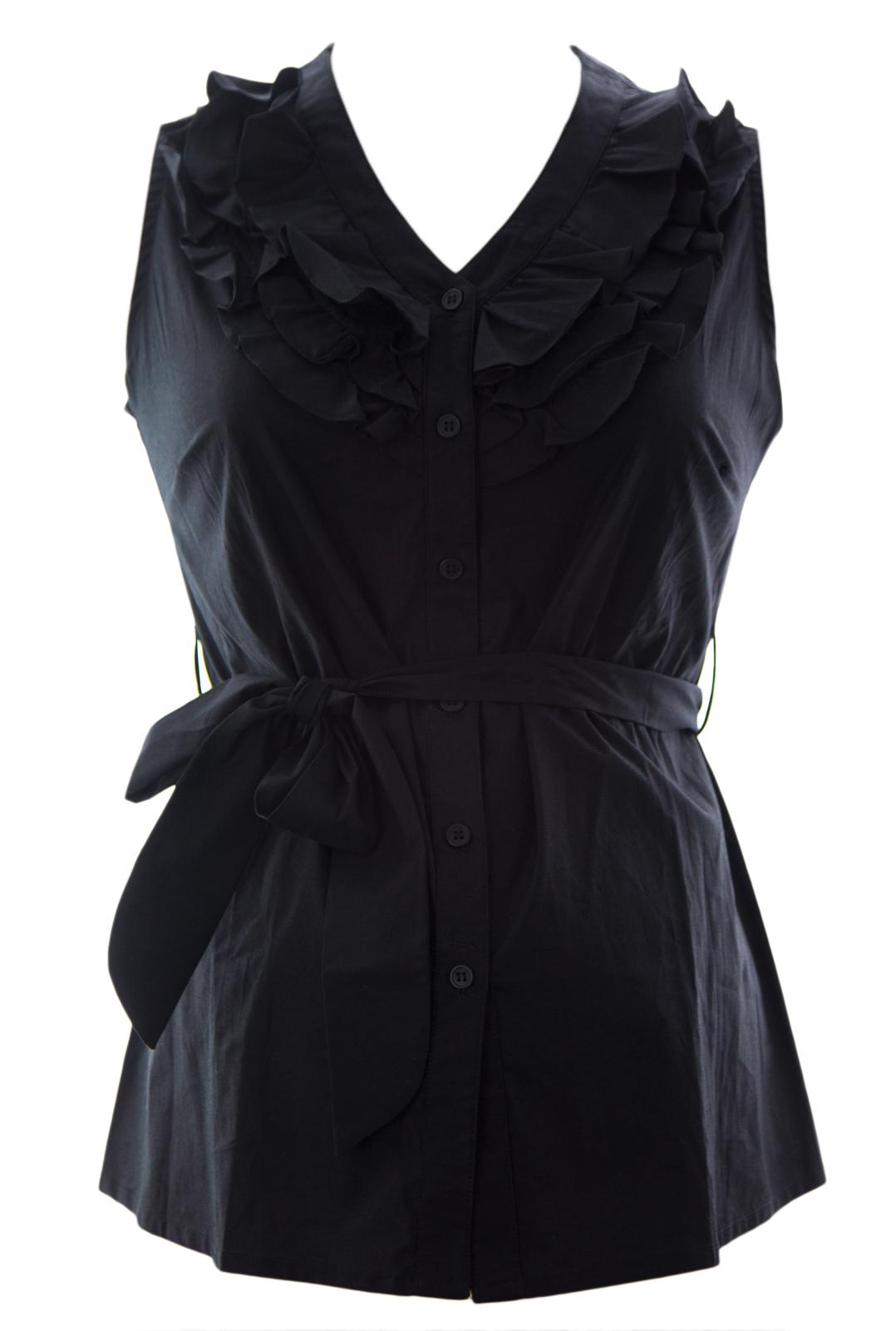 Olian Women's Sleeveless Ruffle Front Maternity Blouse X-Small Black