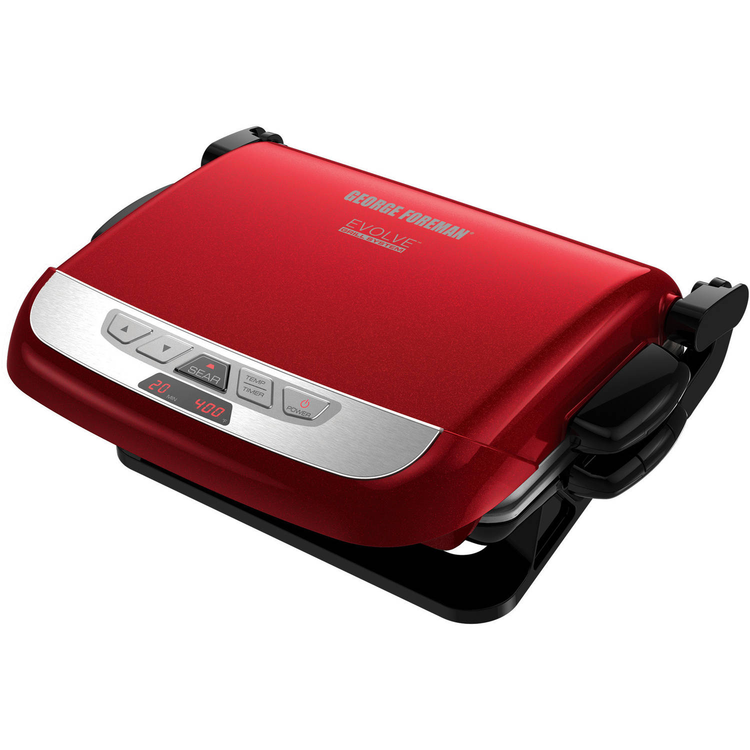 George Foreman Evolve Grill, Waffle Maker, Panini with Removable Plates, Red