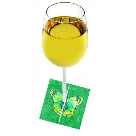 Butterfly Green On Green Fabric Wine Marker - image 1 de 1