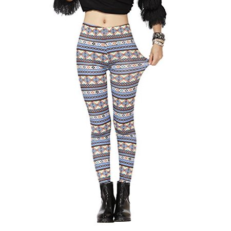 Pop Fashion Women's Winter Stretch Diamond Striped Printed Leggings Tight Pants (One Size - Regular, Diamond - Blue) - Blue And White Striped Leggings