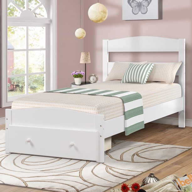 Twin Bed Frame for Kids, Upgrade Pine Wood Bed Frame with Headboard and Footboard, Modern Kids Bed Furniture for Bedroom with Storage Drawer, Holds 420 lb, No Box Spring Needed, White, Q6230