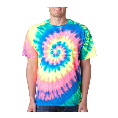 Rainbow T-shirt Tie (Gildan Men's Colorful Tie-Dye Rainbow Swirl T-Shirt, Style 200MS )